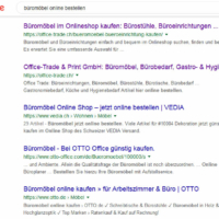 Google Suche: Büromöbel online bestellen