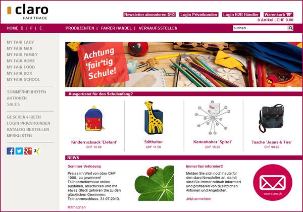 Fair Trade Online Shop: Claro.ch