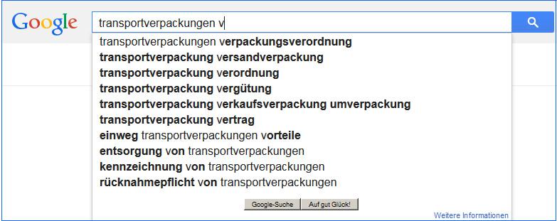 Google zeigt auf, was im Zusammenhang mit Transportverpackung gesucht wird