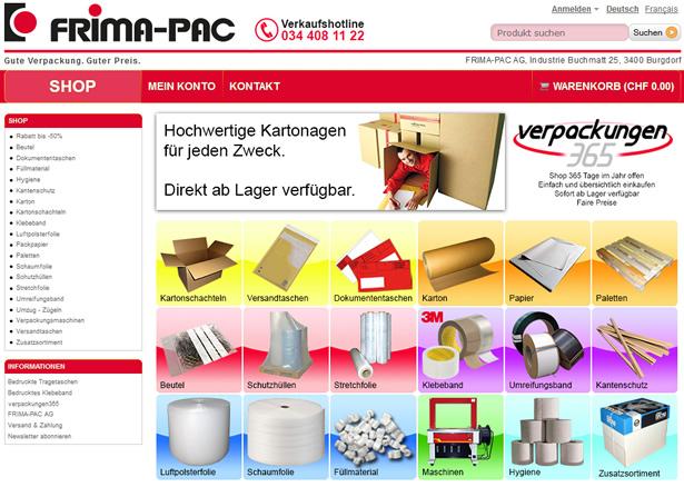 Heute: Beispiel Verpackungen365.ch - viel Übersicht und gut strukturiert!